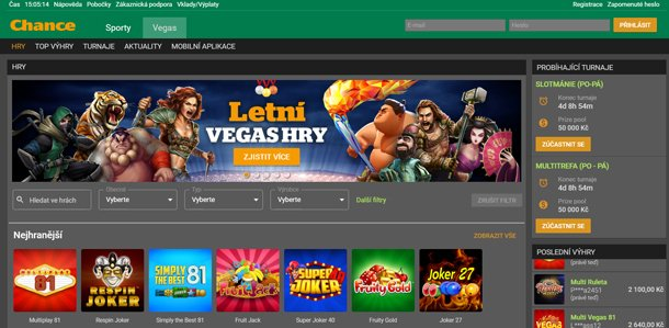 Chance Vegas Casino home page