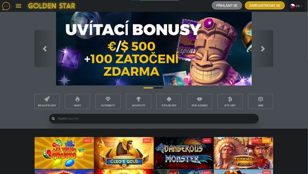 Golden Star Casino - home page