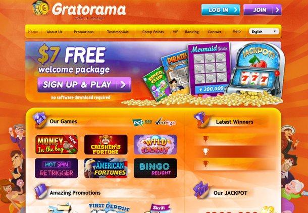 Gratorama Casino - home page