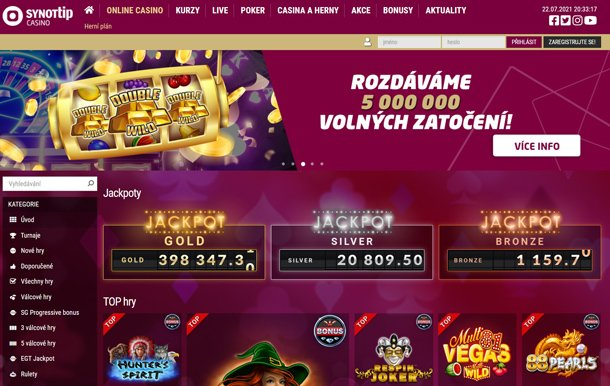 Synot Tip Casino - home page