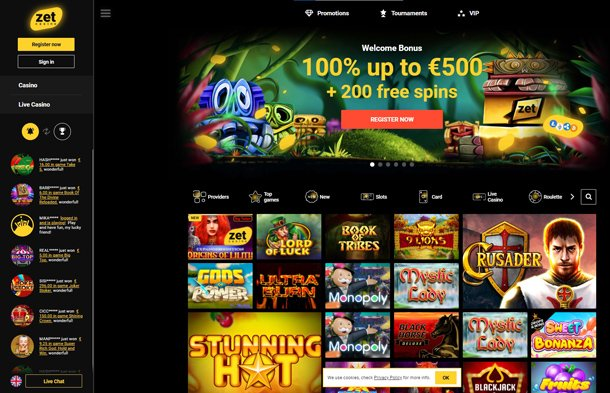 Zet Casino - home page