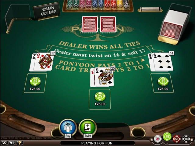 Pontoon blackjack - herní stůl