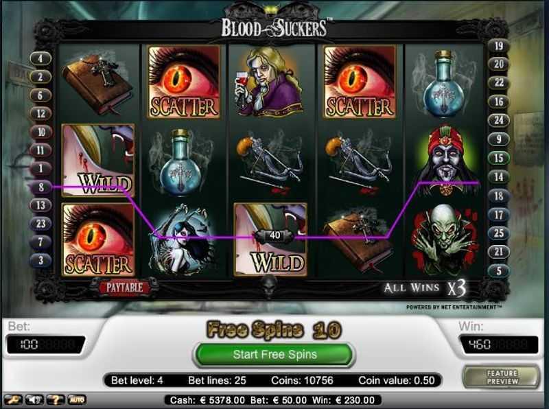 Výherní automat Blood Suckers - herní pole