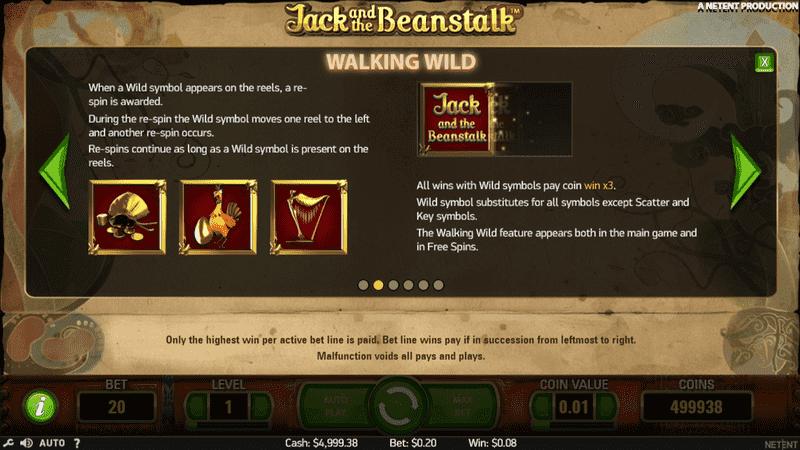 Walking Wild v automatu Jack and the Beanstalk