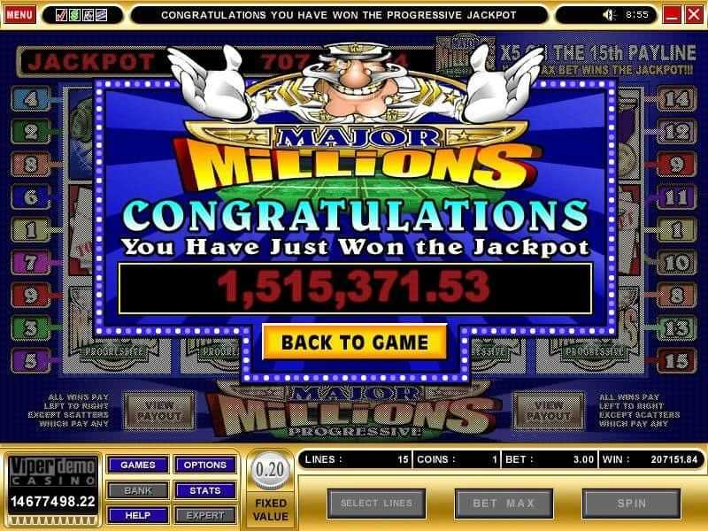 Major Millions - výhra v jackpotu
