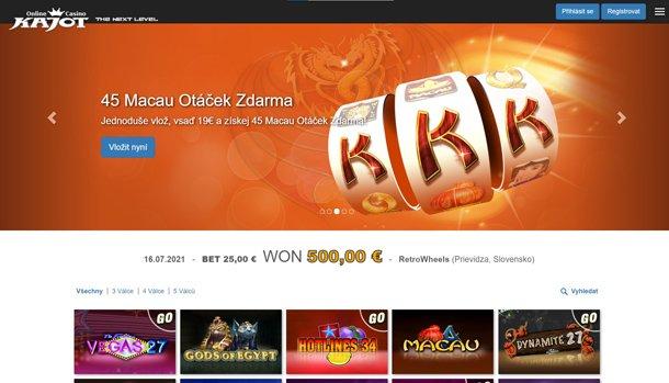 Kajot Casino home page