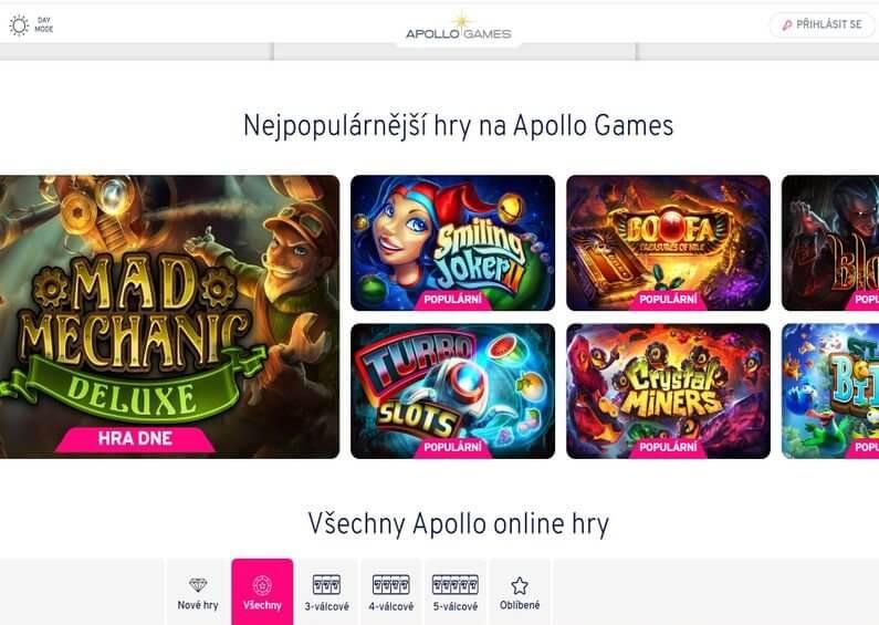 Nabídka her v online casinu Apollo Games