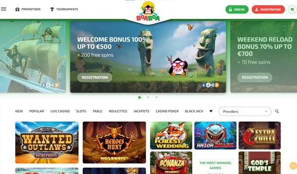 BoaBoa Casino home page