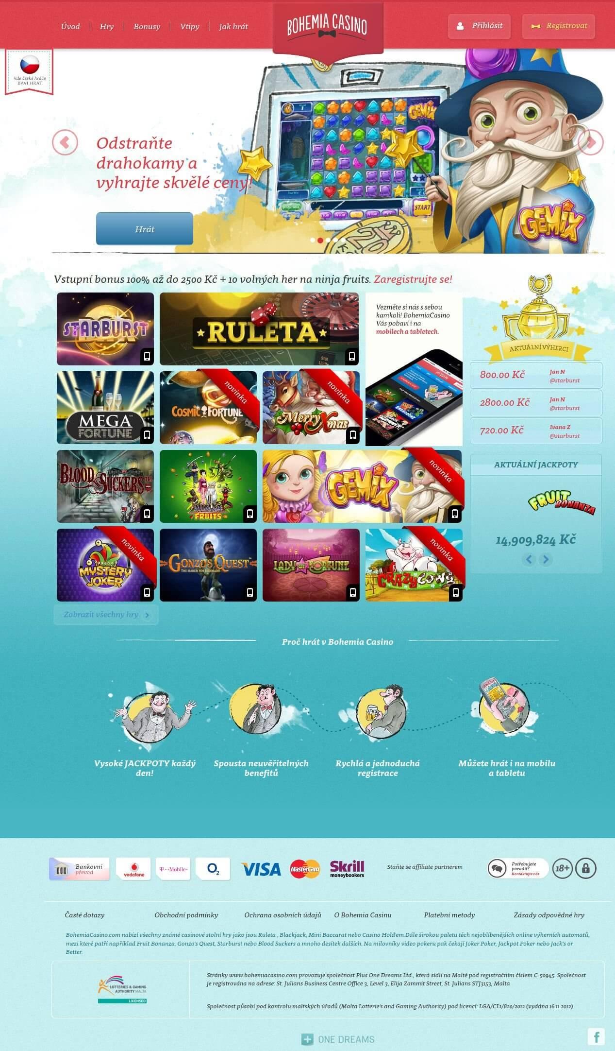 Bohemia Casino úvodní stránka