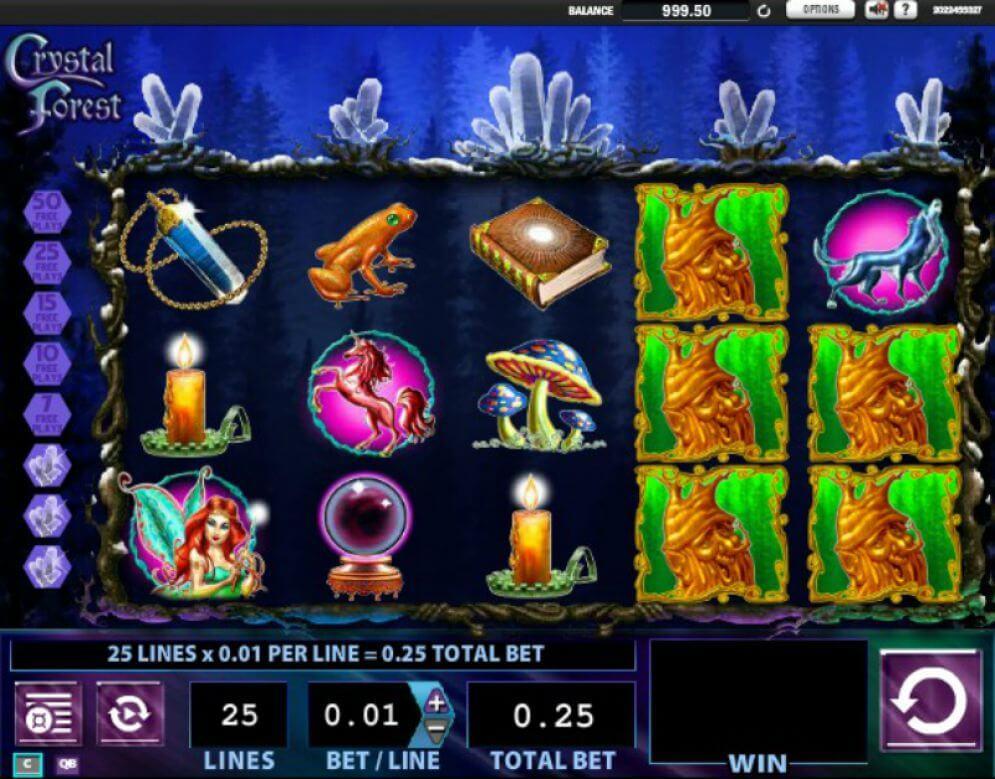 Crystal Forest Slot - grafické uživatelské rozhraní
