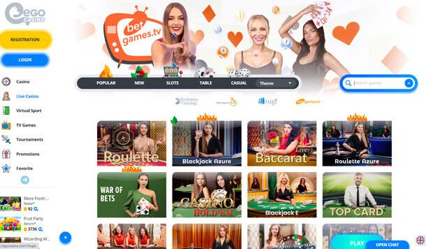 Live casino - online casino EgoCasino