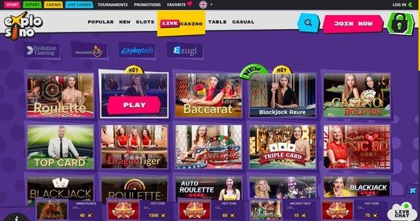 Live casino v online casinu Explosino Casino