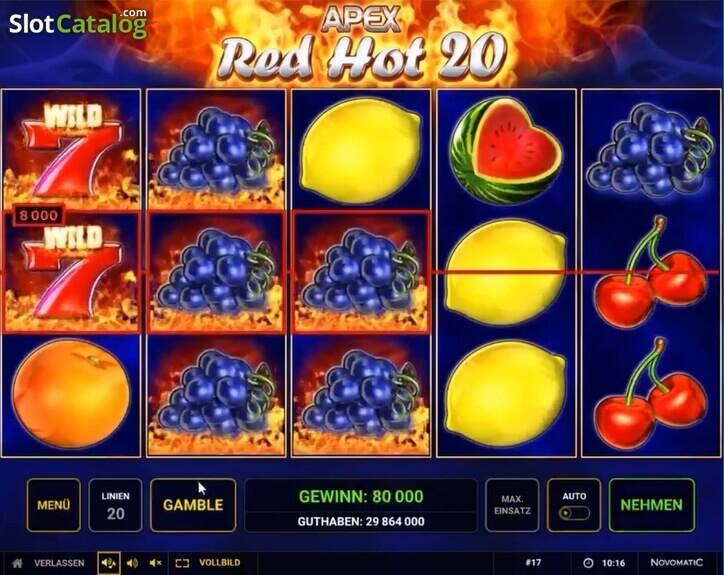 Hrát automat Red Hot 20