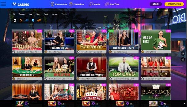 Hazardní hry (živé hry) - online casino Ivi Casino