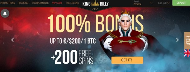King Billy Casino home page