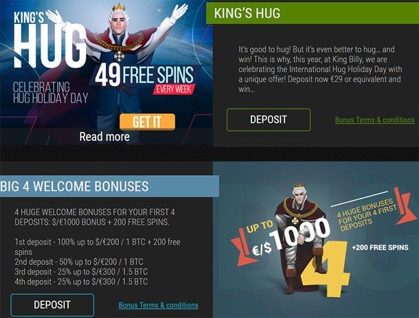 King Billy Casino promoakce