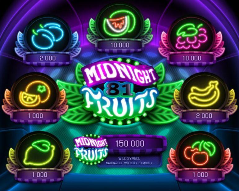 Automat Midnight Fruits - výplatní tabulka