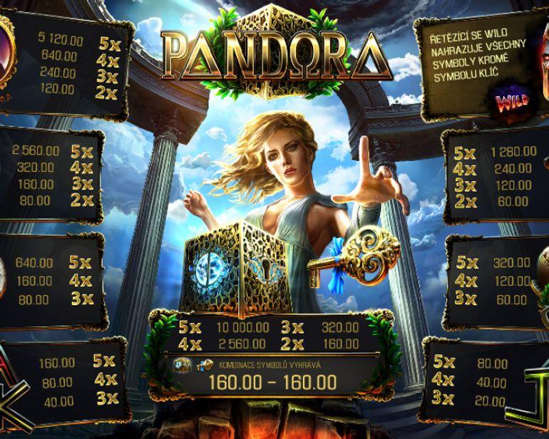 Automat Pandora - výplatní tabulka