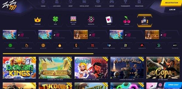 ZigZag 777 Casino - home page
