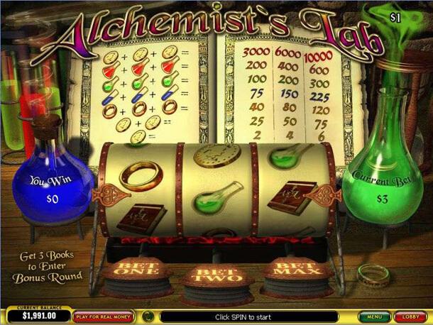 HRÁT zdarma oblíbený 3válcový automat Alchemist's Lab