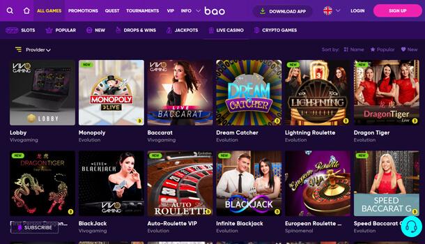 Hrát v online casinu Bao Casino