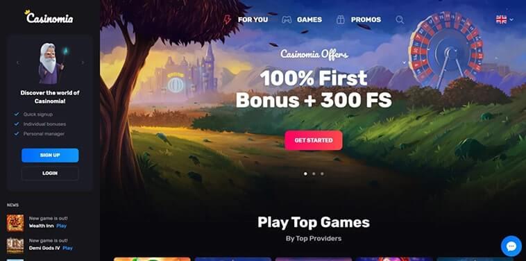 Úvodní stránka online casina Casinomia