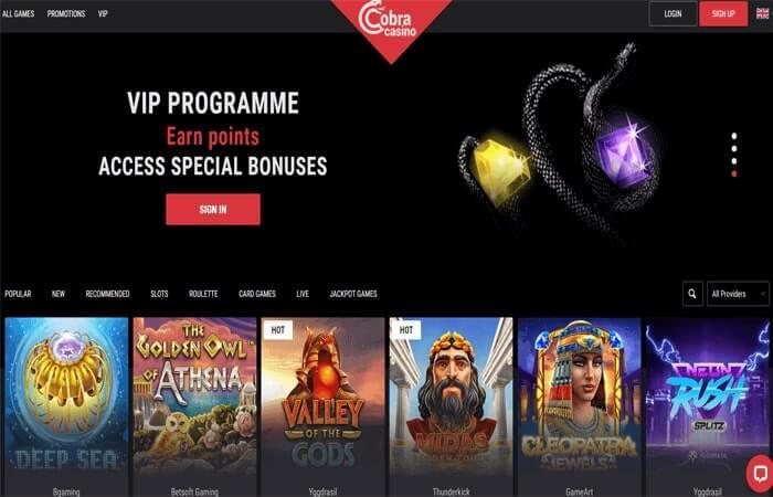 Online casino Cobra Casino - home page