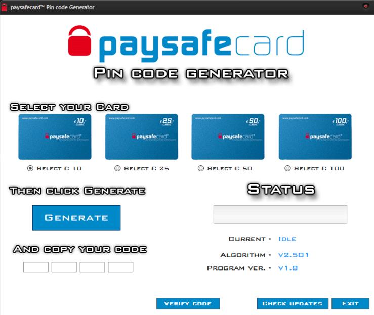 Paysafecard generátor: podvod