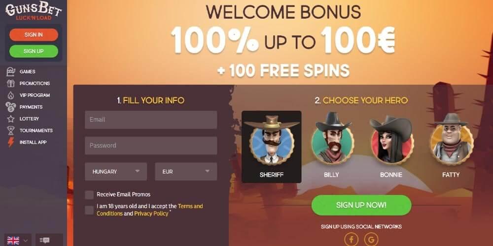 Online casino Gunsbet - home page