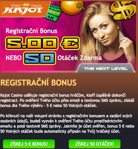 Kajot registrační bonus