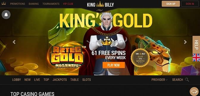 Home page online casina King Billy Casino