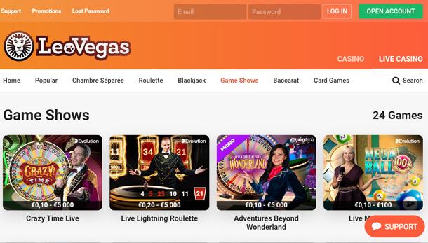 Hrát v online casinu LeoVegas Casino