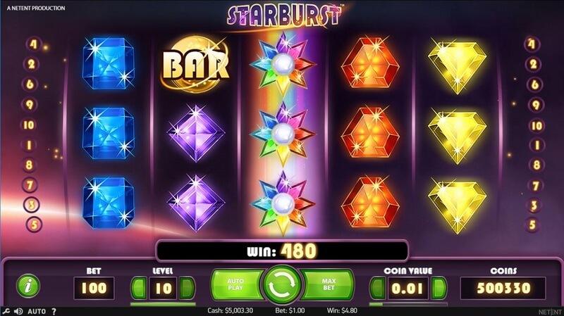 Ukázka ze hry Starburst (NetEnt)