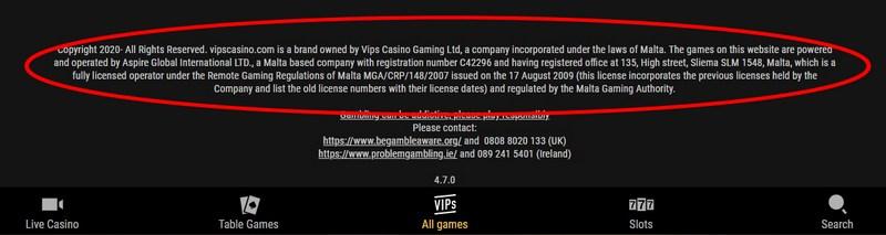Informace o licenci v online casinu VIPS