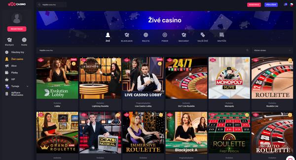 casino Woocasino: Nedostupné hry pro splnění podmínky protočení