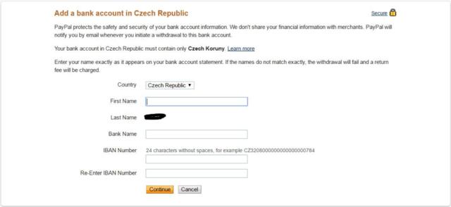 Přidání bankovního účtu na PayPal