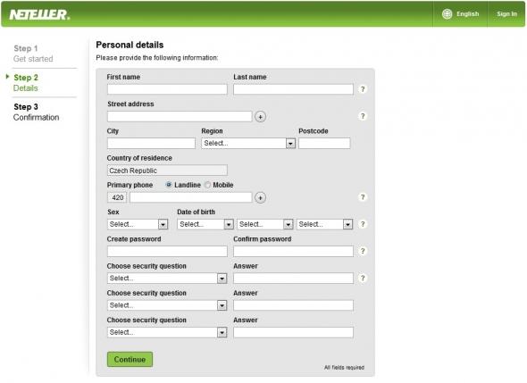 Vyplnění podrobnějších informací u zakládání účtu