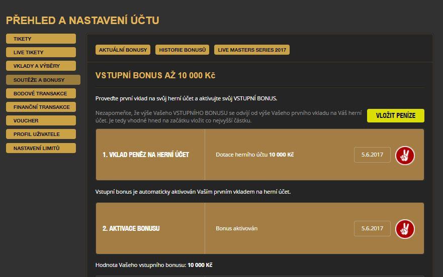 VictoriaTip bonus 10 000 Kč