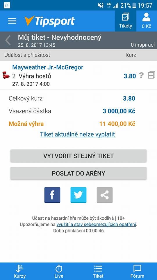 Vsazený tiket, ve kterém je vyobrazený zápas McGregor proti Floyed Mayweather
