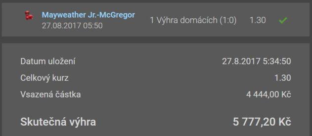 McGregor proti Floyed Mayweather - výherní tiket