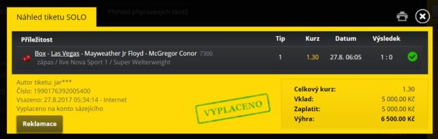 Jak si vsadit na vyhrát neboli zápas McGregor proti Floyed Mayweather