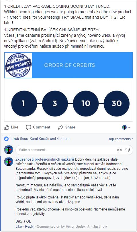 Betcomando podvod mazani prispevku na facebooku