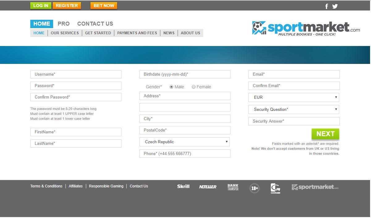 Sportmarket registrace
