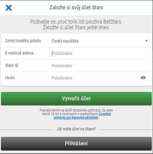 BetStars založení účtu