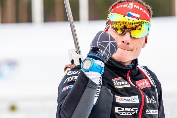 Český biatlon s fotkou Moravce