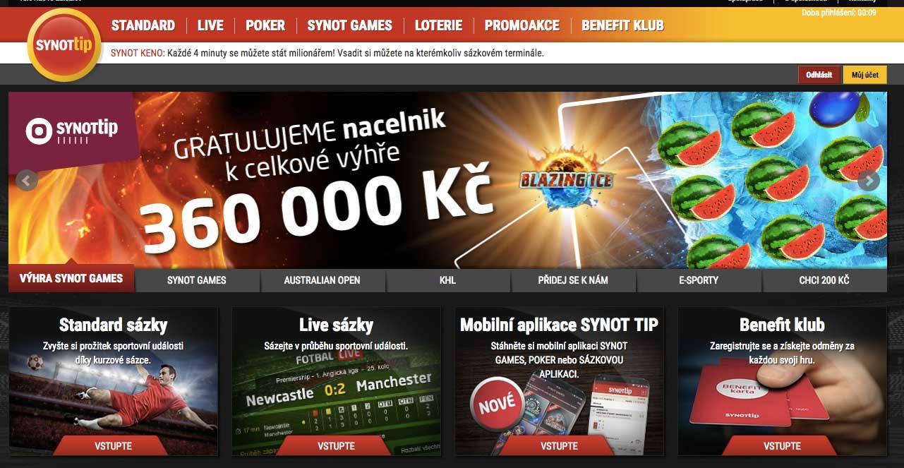 Online casino SynotTip uvodní stránka
