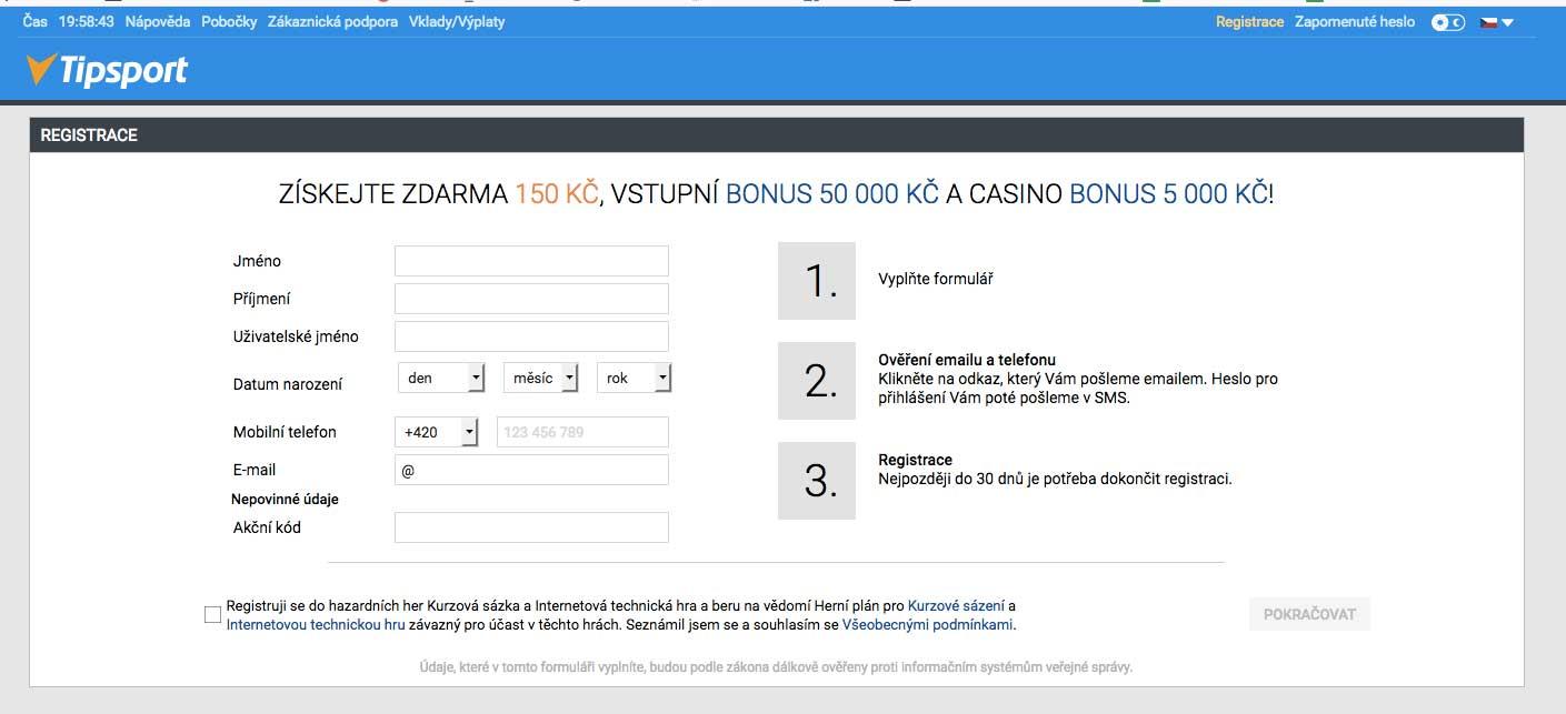 Registrační formulář do online casina Tipsport