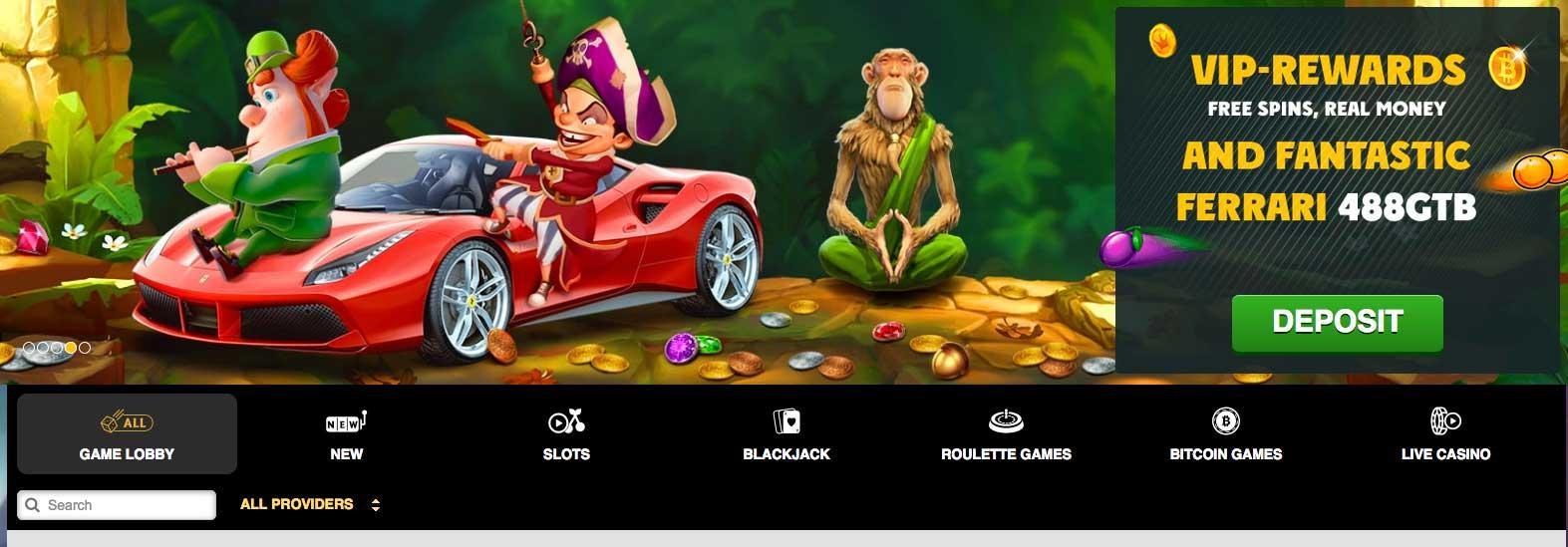 Online casino Playamo ve své vizuální podobě
