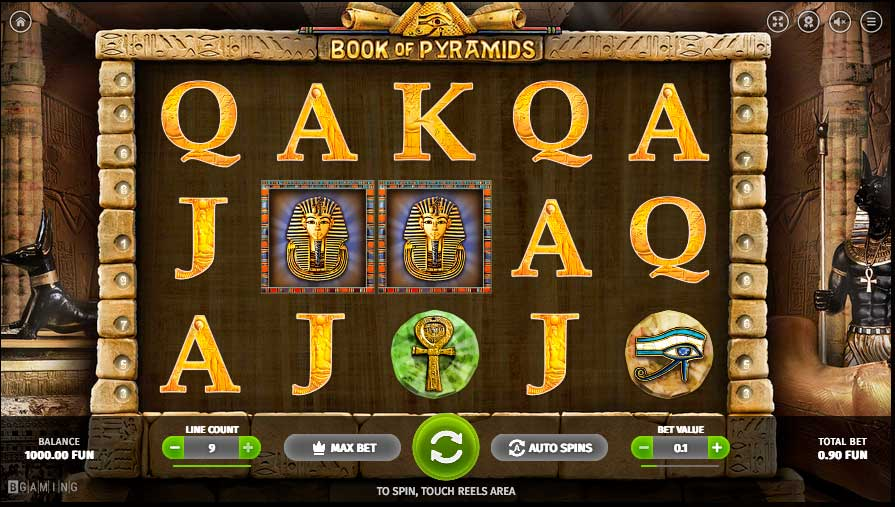 Book Of Pyramids si můžeš zahrát bez nutnosti vkladu